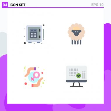 4 User Interface Flat Icon Pack of modern Signs and Symbols of deposit, protect, money, sheep, rights Editable Vector Design Elements icon