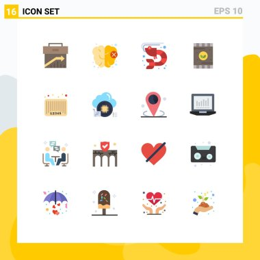 Universal Icon Symbols Group of 16 Modern Flat Colors of bar, soil, fish, plant, agriculture Editable Pack of Creative Vector Design Elements icon