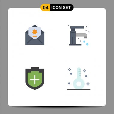 Flat Icon Pack of 4 Universal Symbols of donation, plus, mail, sink, shield Editable Vector Design Elements icon