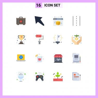 16 Creative Icons Modern Signs and Symbols of paint roller, school, web, online, path Editable Pack of Creative Vector Design Elements icon