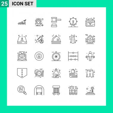 Stock Vector Icon Pack of 25 Line Signs and Symbols for portfolio, business case, hammer, sign, leisure Editable Vector Design Elements icon
