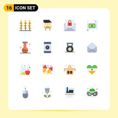 16 Creative Icons Modern Signs and Symbols of biochemistry, hardware, communication, cpu, chip Editable Pack of Creative Vector Design Elements icon