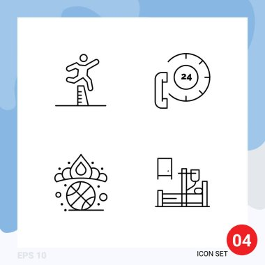 Stock Vector Icon Pack of 4 Line Signs and Symbols for athlete, help, running, center, diadem Editable Vector Design Elements icon