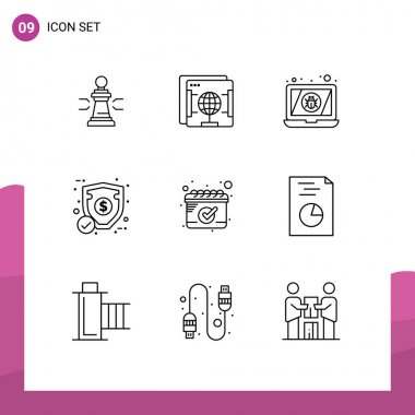 Stock Vector Icon Pack of 9 Line Signs and Symbols for protection, money, internet, virus, device Editable Vector Design Elements icon