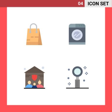 Editable Vector Line Pack of 4 Simple Flat Icons of bag, insurance, shop, washing, celebration Editable Vector Design Elements icon