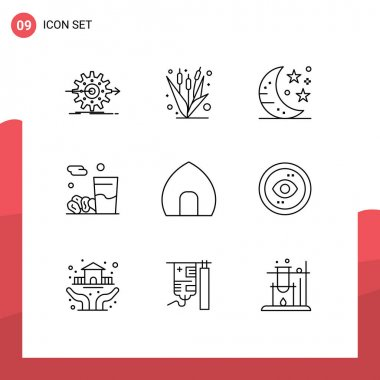 Stock Vector Icon Pack of 9 Line Signs and Symbols for kareem, food, farming, drink, night Editable Vector Design Elements icon