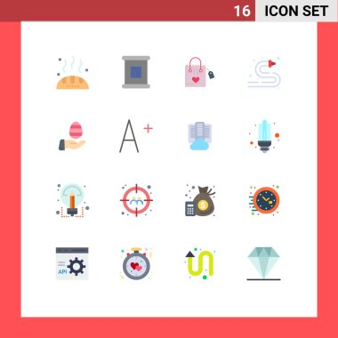 Stock Vector Icon Pack of 16 Line Signs and Symbols for easter, hand, love, water hose, hose Editable Pack of Creative Vector Design Elements icon