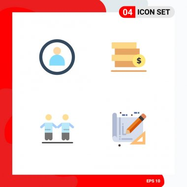 Pack of 4 creative Flat Icons of disc, friendship, money, save, tools Editable Vector Design Elements icon