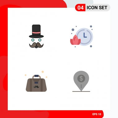4 User Interface Flat Icon Pack of modern Signs and Symbols of moustache, dad, santa clause, time, fathers day Editable Vector Design Elements icon