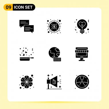 Stock Vector Icon Pack of 9 Line Signs and Symbols for globe, romance, bulb, love, cooking Editable Vector Design Elements icon