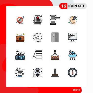 Stock Vector Icon Pack of 16 Line Signs and Symbols for emergency, plugin, hammer, plug, human Editable Creative Vector Design Elements icon