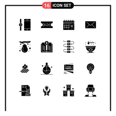 Set of 16 Modern UI Icons Symbols Signs for pear, fall, celebration, autumn, mail Editable Vector Design Elements