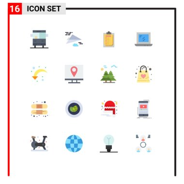 16 Creative Icons Modern Signs and Symbols of right arrow, refresh, card, laptop, web Editable Pack of Creative Vector Design Elements icon