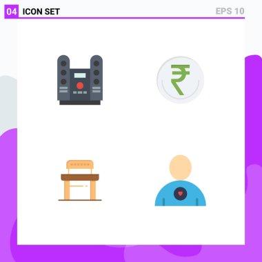 Flat Icon Pack of 4 Universal Symbols of cinema, rupee, stage, finance, desk Editable Vector Design Elements icon