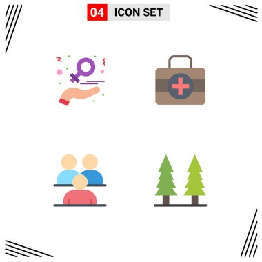 User Interface Pack of 4 Basic Flat Icons of charity, conference, love, medici, group Editable Vector Design Elements icon