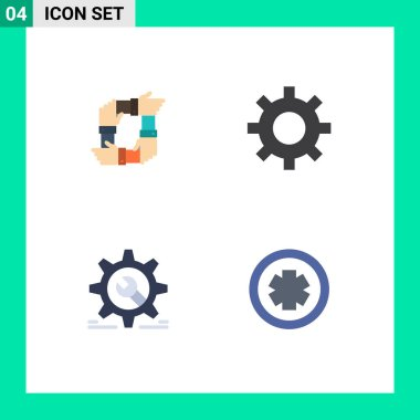 Editable Vector Line Pack of 4 Simple Flat Icons of teamwork, setting, hands, protection, wheel Editable Vector Design Elements icon
