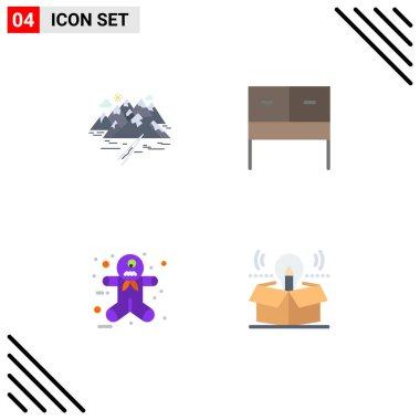 Flat Icon Pack of 4 Universal Symbols of mountain, gingerbread man, rocks, interior, box Editable Vector Design Elements icon