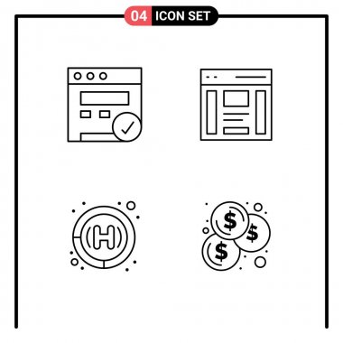Stock Vector Icon Pack of 4 Line Signs and Symbols for browser, health care, communication, right, budget Editable Vector Design Elements icon