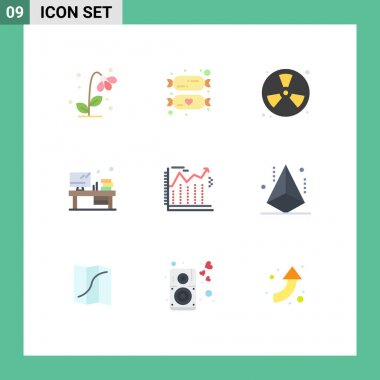 Stock Vector Icon Pack of 9 Line Signs and Symbols for monitor, office, sweets, table, fireman Editable Vector Design Elements icon