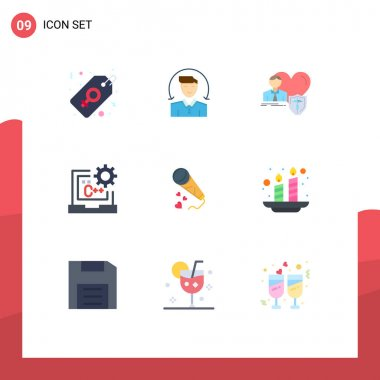 Stock Vector Icon Pack of 9 Line Signs and Symbols for development, coding, insurance, code, heart Editable Vector Design Elements icon
