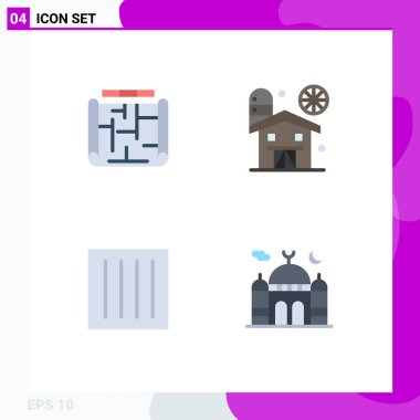 User Interface Pack of 4 Basic Flat Icons of architecture, clothing, estate, farm, dry Editable Vector Design Elements icon