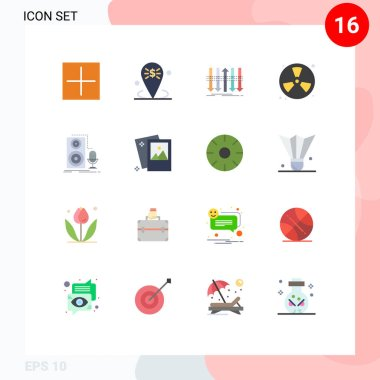 Set of 16 Modern UI Icons Symbols Signs for fireman, fighter, placeholder, burn, forward Editable Pack of Creative Vector Design Elements icon