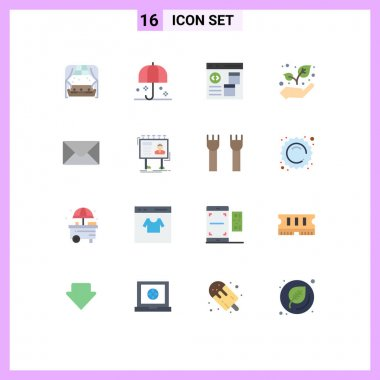 Set of 16 Modern UI Icons Symbols Signs for mail, growth, sunshade, eco, develop Editable Pack of Creative Vector Design Elements icon
