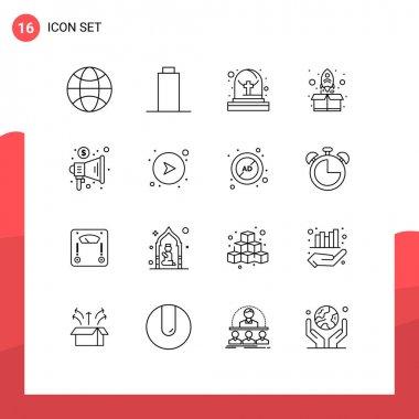 Outline Pack of 16 Universal Symbols of arrows, megaphone, tomb, marketing, package Editable Vector Design Elements