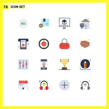Pictogram Set of 16 Simple Flat Colors of protection, house, education, home, school Editable Pack of Creative Vector Design Elements