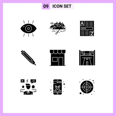 Stock Vector Icon Pack of 9 Line Signs and Symbols for building, pen, rocks, education, code Editable Vector Design Elements icon