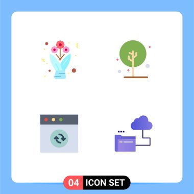 Flat Icon Pack of 4 Universal Symbols of bouquet, mac, roses, growth, cloud Editable Vector Design Elements icon
