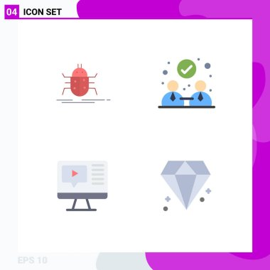 Flat Icon Pack of 4 Universal Symbols of bug, play, testing, collaboration, education Editable Vector Design Elements icon