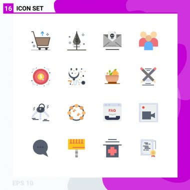 Universal Icon Symbols Group of 16 Modern Flat Colors of achievement, team, letter, organization, group Editable Pack of Creative Vector Design Elements icon
