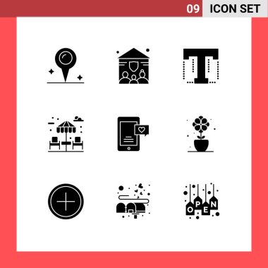 Stock Vector Icon Pack of 9 Line Signs and Symbols for flower, chat bubble, tool, chat, park Editable Vector Design Elements icon