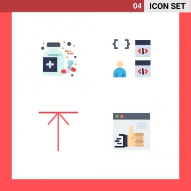 Set of 4 Commercial Flat Icons pack for bottle, arrow, tablet, coding, up Editable Vector Design Elements icon