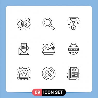 Pack of 9 Modern Outlines Signs and Symbols for Web Print Media such as food, corresponding, search, business, news Editable Vector Design Elements