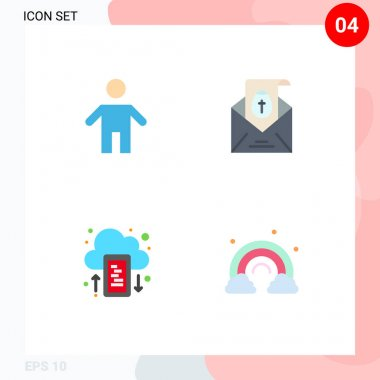 Editable Vector Line Pack of 4 Simple Flat Icons of dad, drive, people, easter, upload Editable Vector Design Elements icon