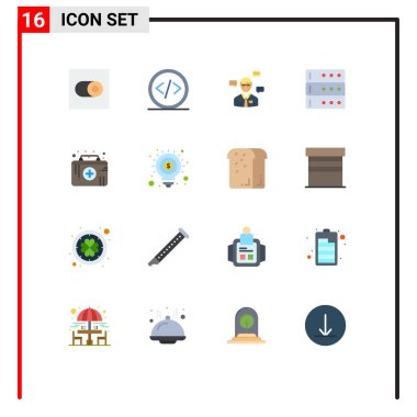 Universal Icon Symbols Group of 16 Modern Flat Colors of healthcare, server, man, database, popup Editable Pack of Creative Vector Design Elements icon