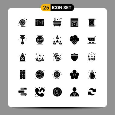 Stock Vector Icon Pack of 25 Line Signs and Symbols for web speed checking, page speed test, soccer, dashboard, tub Editable Vector Design Elements icon