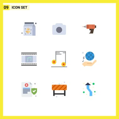 Universal Icon Symbols Group of 9 Modern Flat Colors of audio, filmstrip, power, film reel, animation Editable Vector Design Elements icon