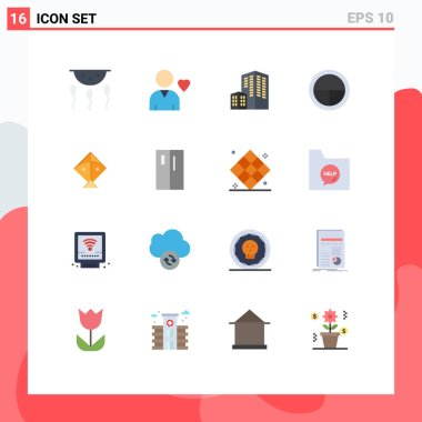 Set of 16 Modern UI Icons Symbols Signs for flying, kite, architecture, soldier, badge Editable Pack of Creative Vector Design Elements icon