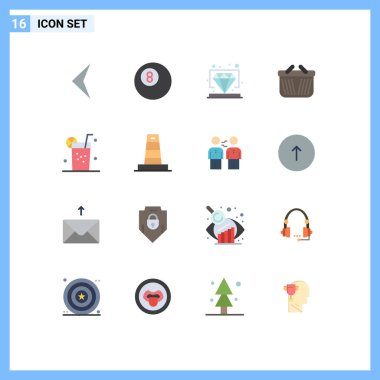Set of 16 Modern UI Icons Symbols Signs for business, juice, vip, healthy, shopping Editable Pack of Creative Vector Design Elements icon
