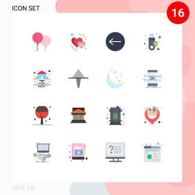 Stock Vector Icon Pack of 16 Line Signs and Symbols for rent, for, left, estate, token Editable Pack of Creative Vector Design Elements icon
