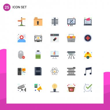 Stock Vector Icon Pack of 25 Line Signs and Symbols for rank screen, lcd ranking, ray, tools, support Editable Vector Design Elements icon