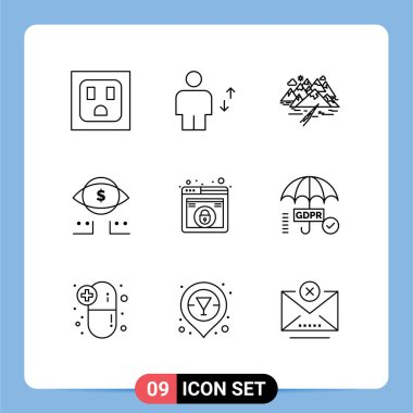 Stock Vector Icon Pack of 9 Line Signs and Symbols for lock, digital, hill, marketing, eye Editable Vector Design Elements icon