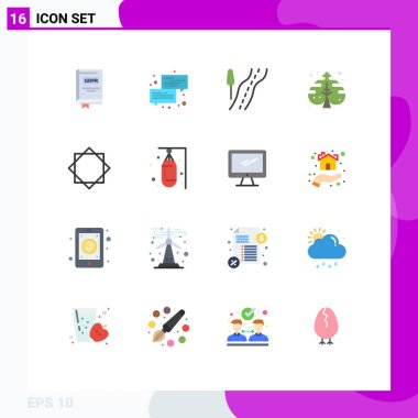 Stock Vector Icon Pack of 16 Line Signs and Symbols for alert, creative, message, leaf, travel Editable Pack of Creative Vector Design Elements icon