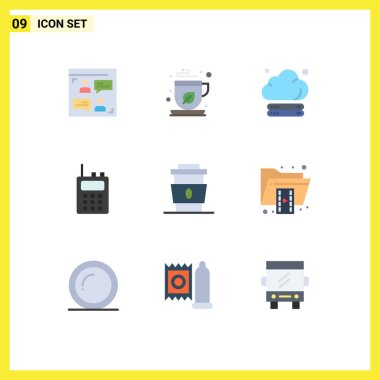 Stock Vector Icon Pack of 9 Line Signs and Symbols for drink, coffee, cloud, walkie talkie, communication Editable Vector Design Elements icon
