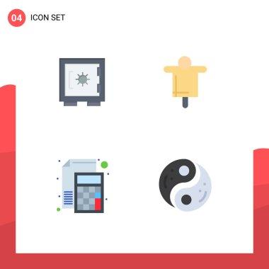 Flat Icon Pack of 4 Universal Symbols of lock, calculator, secure, farming, math Editable Vector Design Elements icon