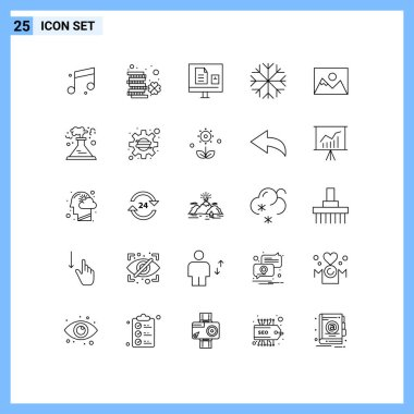 Stock Vector Icon Pack of 25 Line Signs and Symbols for photo, weather, e, snowflake, school Editable Vector Design Elements icon