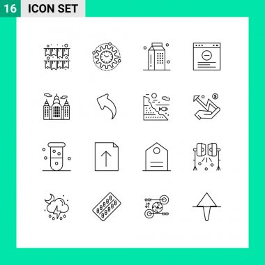 Stock Vector Icon Pack of 16 Line Signs and Symbols for canada, website, cooking, internet, milk Editable Vector Design Elements icon